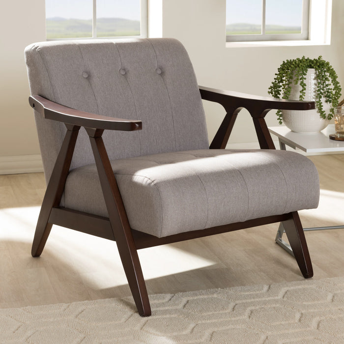 Baxton Studio Enya Mid-Century Modern Walnut Wood Grey Fabric Lounge Chair Baxton Studio-chairs-Minimal And Modern - 1
