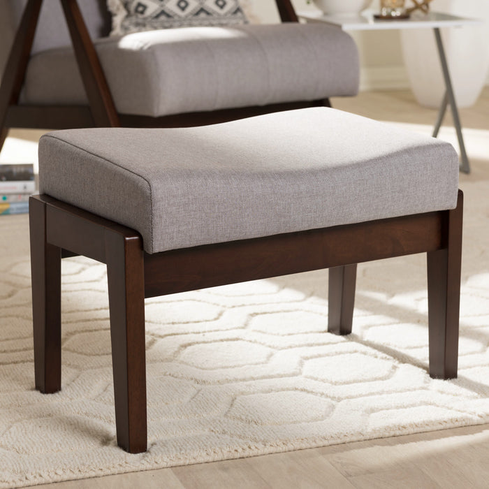 Baxton Studio Enya Mid-Century Modern Walnut Wood Grey Fabric Ottoman Baxton Studio-ottomans-Minimal And Modern - 1