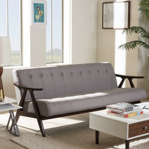 Baxton Studio Enya Mid-Century Modern Walnut Wood Grey Fabric 3-Seater Sofa Baxton Studio-sofas-Minimal And Modern - 1