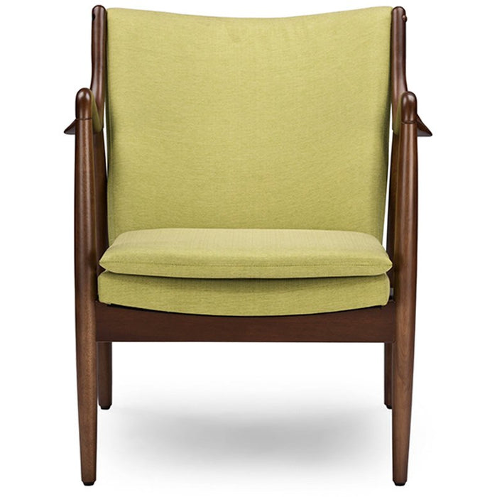 Baxton Studio Shakespeare Mid-Century Modern Retro Green Fabric Upholstered Leisure Accent Chair in Walnut Wood Frame Baxton Studio-chairs-Minimal And Modern - 1