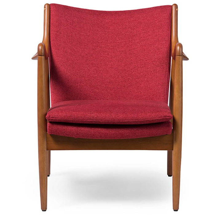 Baxton Studio Shakespeare Mid-Century Modern Retro Red Fabric Upholstered Leisure Accent Chair in Pine Brown Wood Frame Baxton Studio-chairs-Minimal And Modern - 1