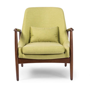 Baxton Studio Carter Mid-Century Modern Retro Green Fabric Upholstered Leisure Accent Chair in Walnut Wood Frame Baxton Studio-chairs-Minimal And Modern - 1
