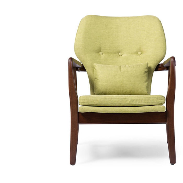 Baxton Studio Rundell Mid-Century Modern Retro Green Fabric Upholstered Leisure Accent Chair in Walnut Wood Frame Baxton Studio-chairs-Minimal And Modern - 1