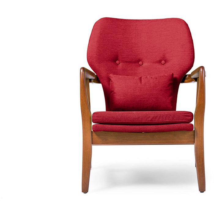 Baxton Studio Rundell Mid-Century Modern Retro Red Fabric Upholstered Leisure Accent Chair in Pine Brown Wood Frame Baxton Studio-chairs-Minimal And Modern - 1