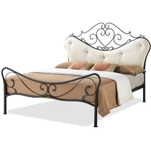 Baxton Studio Alanna Vintage Industrial Black Finished Metal Queen Size Platform Bed With Beige Tufted Headboard Baxton Studio-beds-Minimal And Modern - 1