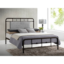 Baxton Studio Nashville Queen Size Antique Bronze Metal Platform Bed with Upholstered Headboard Baxton Studio-beds-Minimal And Modern - 4
