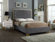 Meridian Furniture Lana Grey Velvet Full Bed
