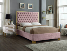 Meridian Furniture Lana Pink Velvet Full Bed