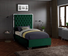 Meridian Furniture Lexi Green Velvet Twin Bed