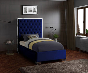 Meridian Furniture Lexi Navy Velvet Twin Bed