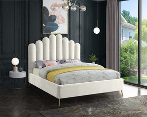 Meridian Furniture Lily Cream Velvet Full Bed