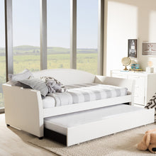 Baxton Studio London Modern and Contemporary White Faux Leather Arched Back Sofa Twin Daybed with Roll-Out Trundle Guest Bed