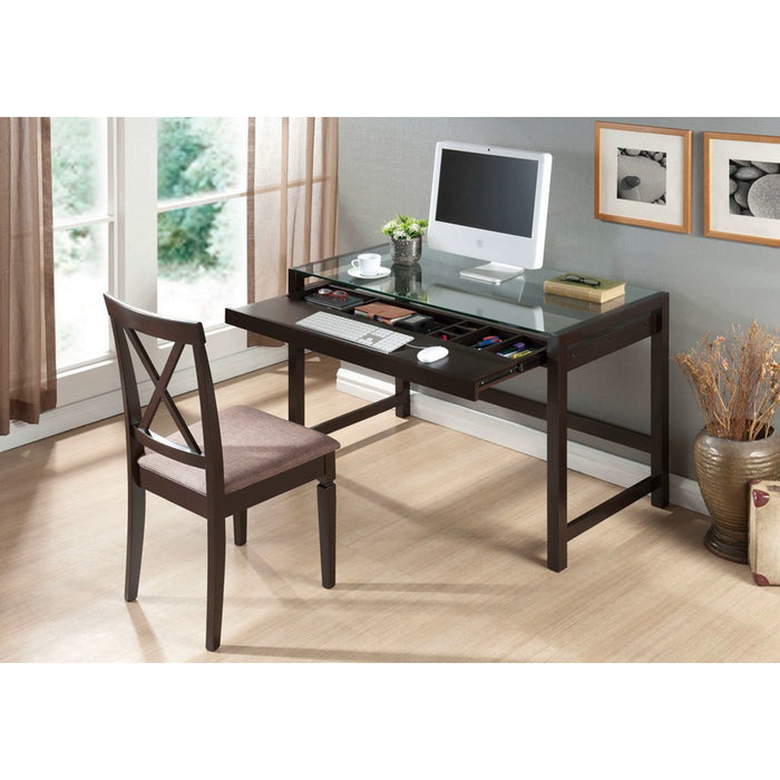 Baxton Studio Idabel Dark Brown Wood Modern Desk with Glass Top Baxton Studio-Desks-Minimal And Modern - 1