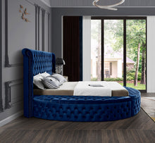 Meridian Furniture Luxus Navy Velvet King Bed (3 Boxes)