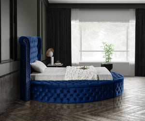 Meridian Furniture Luxus Navy Velvet Twin Bed (3 Boxes)