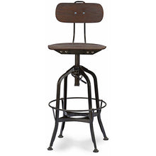 Baxton Studio Justin Distressed Natural Bar Chair with adjustable seat Baxton Studio-Bar Stools-Minimal And Modern - 1