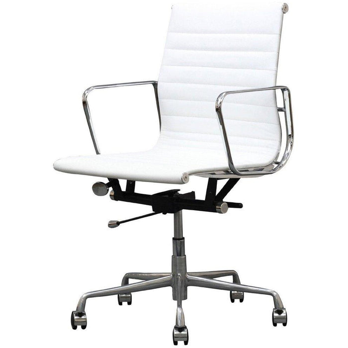 Manhattan Comfort Ellwood Mid-Back Adjustable Office Chair in White- Set of 2-Minimal & Modern