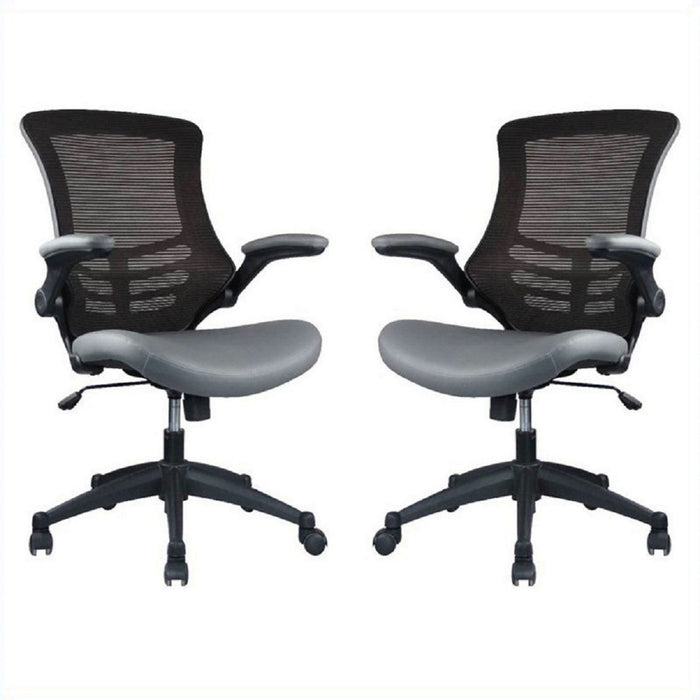 Manhattan Comfort Intrepid High-back Office Chair in Coffee and Grey - Set of 2-Minimal & Modern