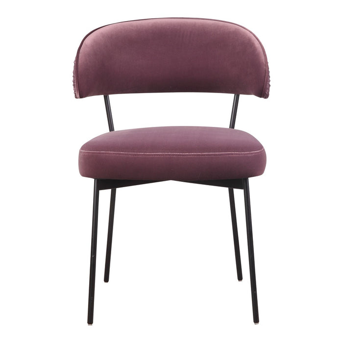 Moe's Home Collection Dolce Dining Chair Purple Velvet-Set of Two - ME-1055-10 - Moe's Home Collection - Dining Chairs - Minimal And Modern - 1