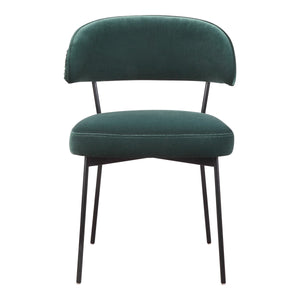 Moe's Home Collection Dolce Dining Chair Green Velvet-Set of Two - ME-1055-27 - Moe's Home Collection - Dining Chairs - Minimal And Modern - 1