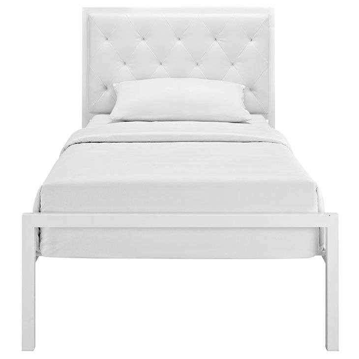 Modway Furniture Modern Mia Twin Fabric Bed Frame White, Beds - Modway Furniture, Minimal & Modern - 10