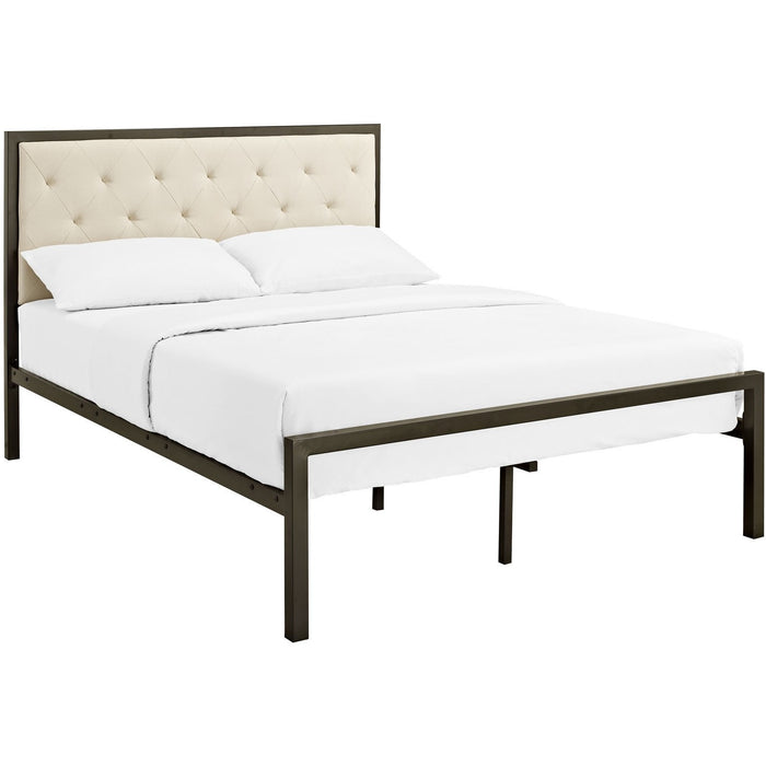 Modway Furniture Modern Mia Full Fabric Bed Frame Brown Beige, Beds - Modway Furniture, Minimal & Modern - 1