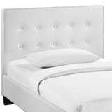 Modway Furniture Modern White Caitlin Twin Vinyl Bed Frame , Beds - Modway Furniture, Minimal & Modern - 2