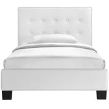 Modway Furniture Modern White Caitlin Twin Vinyl Bed Frame , Beds - Modway Furniture, Minimal & Modern - 3