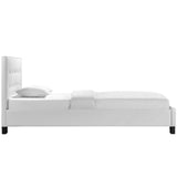 Modway Furniture Modern White Caitlin Twin Vinyl Bed Frame , Beds - Modway Furniture, Minimal & Modern - 4