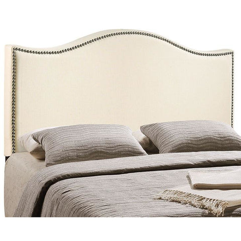 Modway Furniture Modern Curl King Nailhead Upholstered Headboard Ivory, Headboards - Modway Furniture, Minimal & Modern - 1