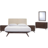 Modway Furniture Modern Tracy 5 Piece Queen Bedroom Set Cappuccino Beige, Bedroom Sets - Modway Furniture, Minimal & Modern - 1