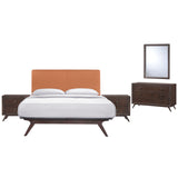 Modway Furniture Modern Tracy 5 Piece Queen Bedroom Set Cappuccino Orange, Bedroom Sets - Modway Furniture, Minimal & Modern - 20