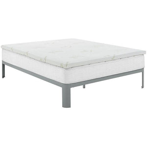 "Modway Furniture Relax King 2"" Gel Memory Foam Mattress Topper In White - MOD-5574-WHI-Minimal & Modern"