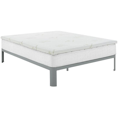 "Modway Furniture Relax King 2"" Gel Memory Foam Mattress Topper In White - MOD-5574-WHI"