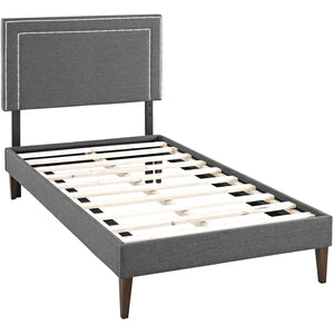 Modway Furniture Modern Virginia Twin Fabric Platform Bed with Squared Tapered Legs - MOD-5919-Minimal & Modern