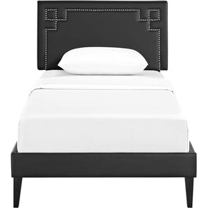 Modway Furniture Modern Ruthie Twin Vinyl Platform Bed with Squared Tapered Legs - MOD-5934-Minimal & Modern