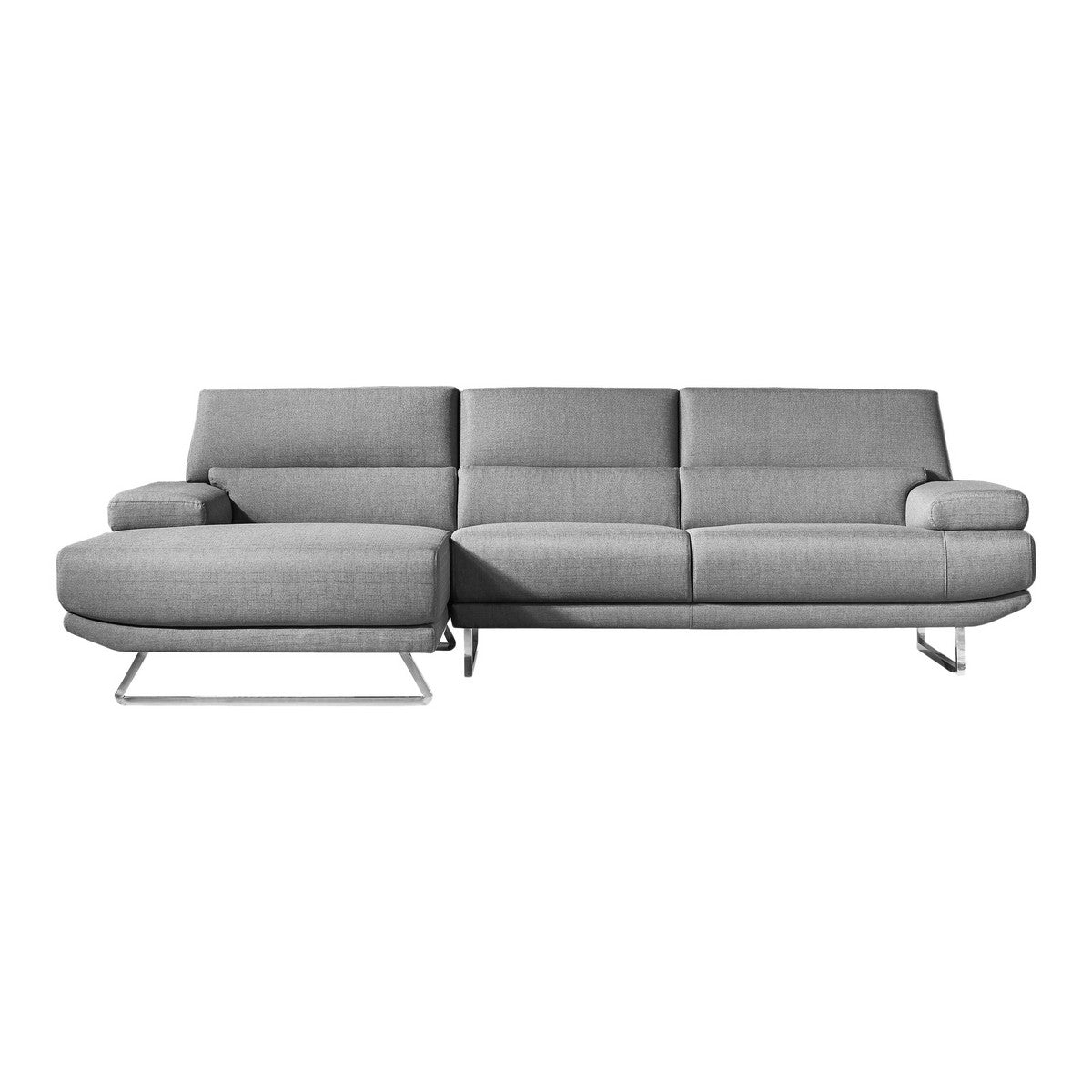 Moe's Home Collection Jenn Sectional Grey Left - MT-1001-25-L - Moe's Home Collection - sofa sectionals - Minimal And Modern - 1