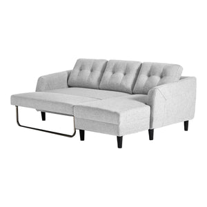 Moe's Home Collection Belagio Sofa Bed With Chaise Light Grey Right - MT-1019-29-R