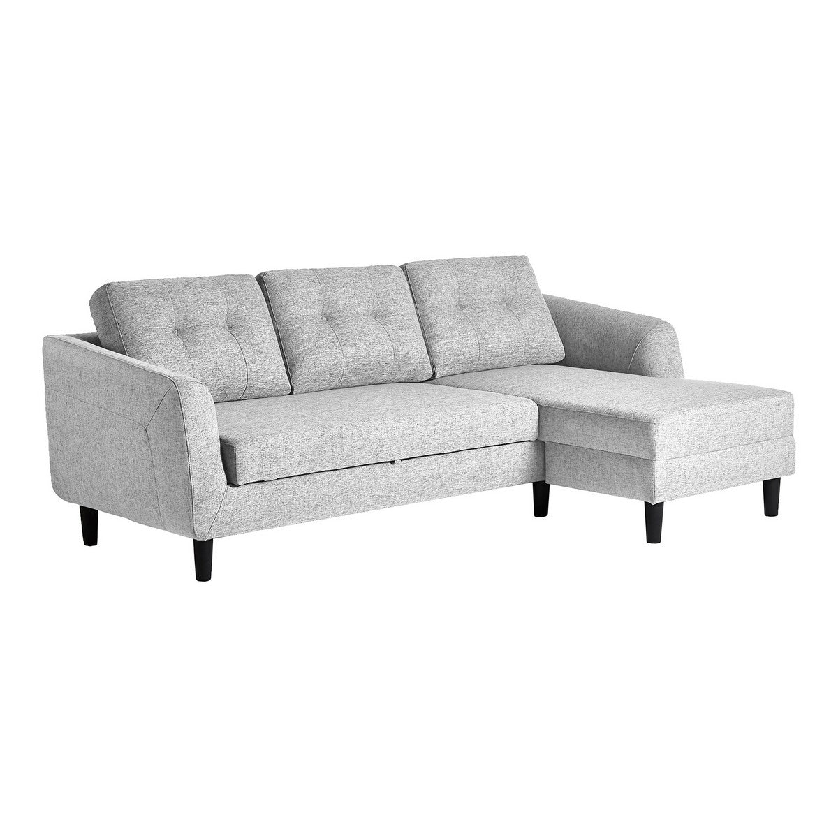 Moe's Home Collection Belagio Sofa Bed With Chaise Light Grey Right - MT-1019-29-R - Moe's Home Collection - Sofa Beds - Minimal And Modern - 1