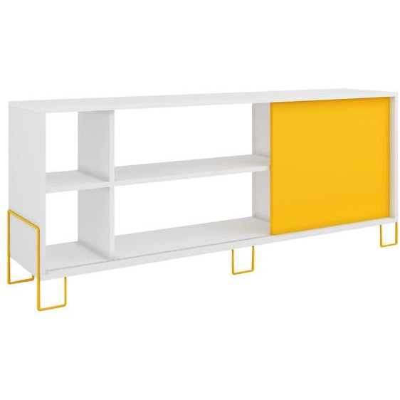 Manhattan Comfort Eye - catching Nacka TV Stand 2.0 with 4 Shelves White and Yellow, TV Stands - Manhattan Comfort, Minimal & Modern - 1