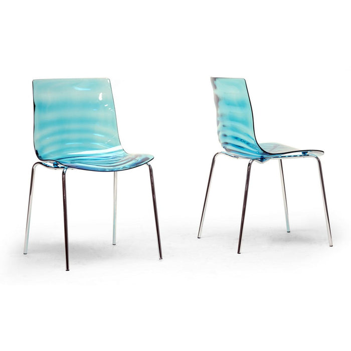 Baxton Studio Marisse Blue Plastic Modern Dining Chair (Set of 2) Baxton Studio-dining chair-Minimal And Modern - 1