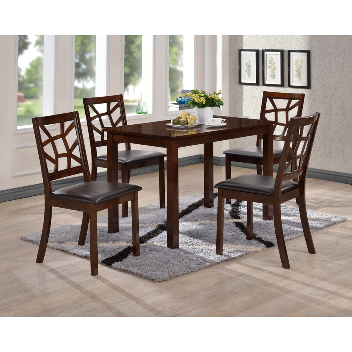 Baxton Studio Mozaika Black Leather Contemporary 5-Piece Dining Set Baxton Studio--Minimal And Modern - 1