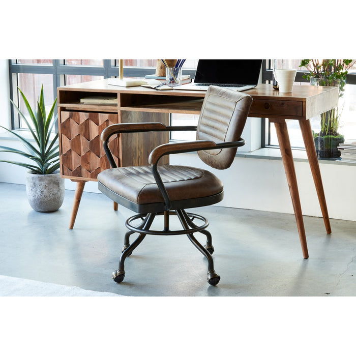 Moe's Home Collection Foster Swivel Desk Chair - Soft Brown - PK-1049-21 - Moe's Home Collection - Office Chairs - Minimal And Modern - 1