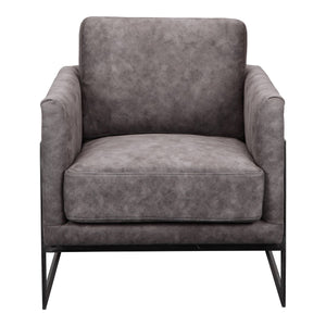 Moe's Home Collection Luxley Club Chair Grey Velvet - PK-1082-15 - Moe's Home Collection - lounge chairs - Minimal And Modern - 1