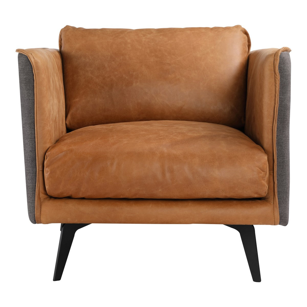 Moe's Home Collection Messina Leather Arm Chair Cognac - PK-1096-23 - Moe's Home Collection - lounge chairs - Minimal And Modern - 1