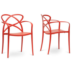 Baxton Studio Huxx Red Plastic Stackable Modern Dining Chair (Set of 2) Baxton Studio-dining chair-Minimal And Modern - 1