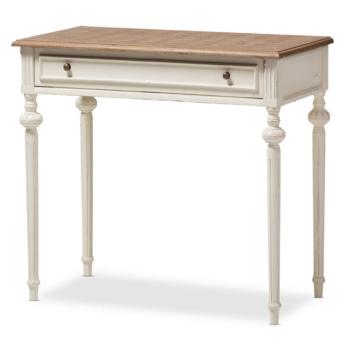 Baxton Studio Marquetterie French Provincial Weathered Oak and Whitewash Writing Desk Baxton Studio-Desks-Minimal And Modern - 1