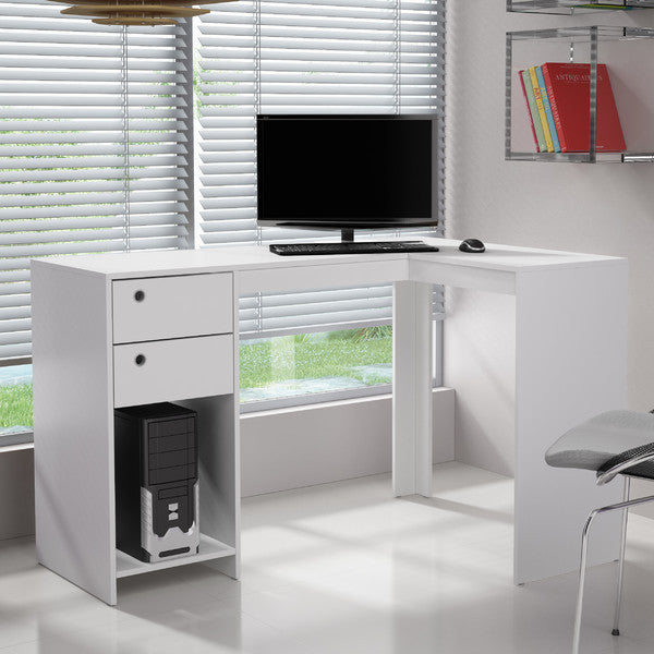 Manhattan Comfort Palermo Classic L-Shaped Office Work Desk With 2 Drawers and 1 Cubby White