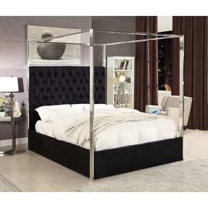 Meridian Furniture Porter Black Velvet Queen Bed-Minimal & Modern