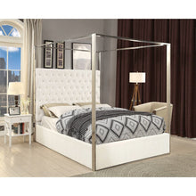 Meridian Furniture Porter White Velvet King Bed-Minimal & Modern